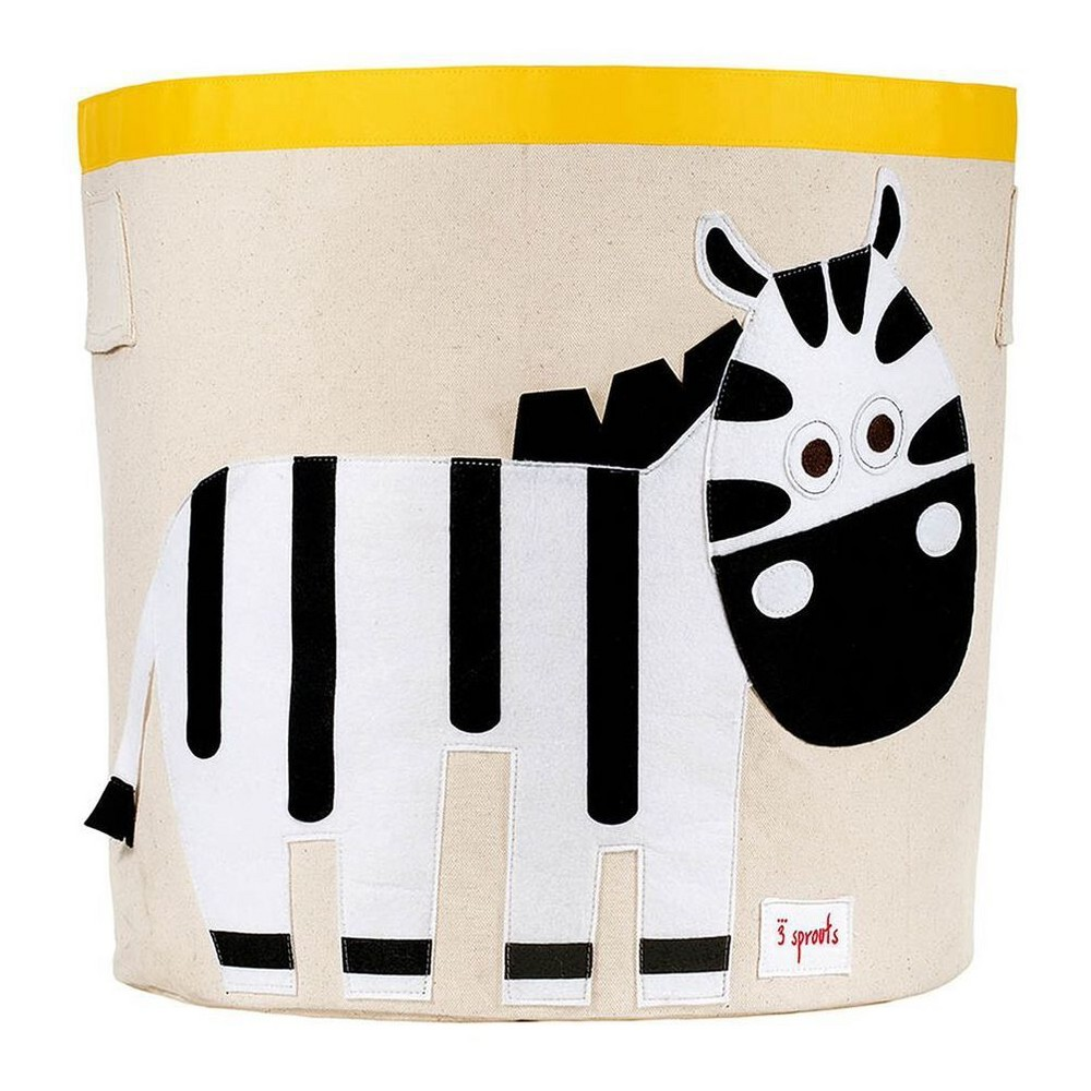 Image of Extra Large Round Zebra Canvas Kids Toy Storage Bin - 3 Sprouts