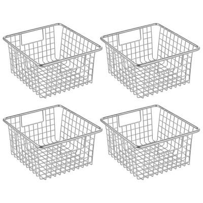 "mDesign Modern Metal Kitchen Basket with Handles, 5.25"" High, 4 Pack"