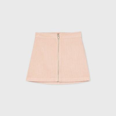 Girls' Zip-Front Corduroy Skirt - art class™ Pink