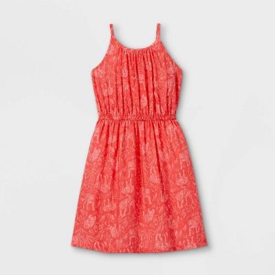 Girls' Woven Sleeveless Dress - Cat & Jack™ Coral