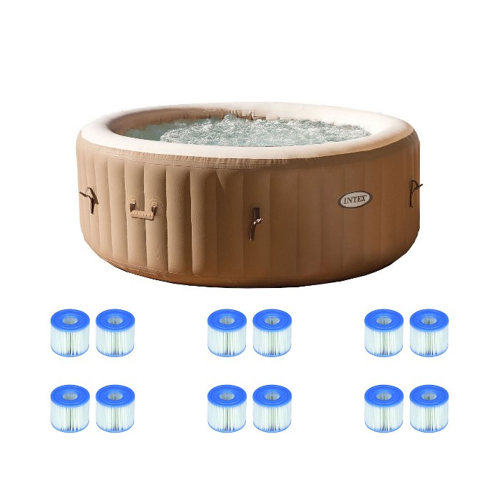 Intex PureSpa Portable Hot Tub Spa & Filter Replacement Cartridges Pair (6 Pack) - image 1 of 6