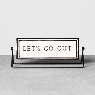Reversible Sign Let's Go Out / Let's Stay In Cream - Hearth & Hand™ with Magnolia