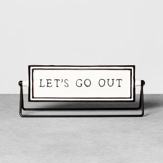 Reversible Sign Lets Go Out / Lets Stay In Cream - Hearth & Hand™ with Magnolia
