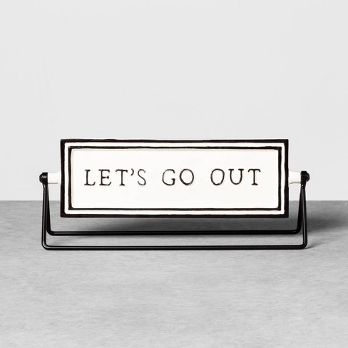 Reversible Sign Let's Go Out / Let's Stay In Cream - Hearth & Hand™ with Magnolia - image 1 of 4