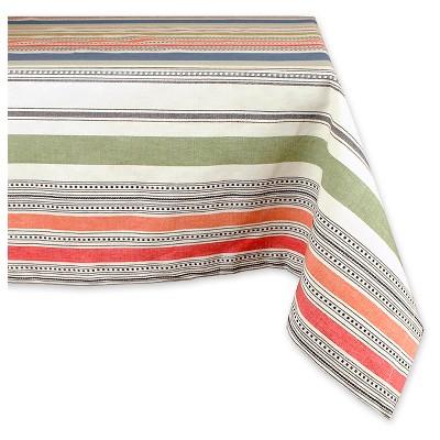 104 x60  Warm Stripe Tablecloth Green - Design Imports