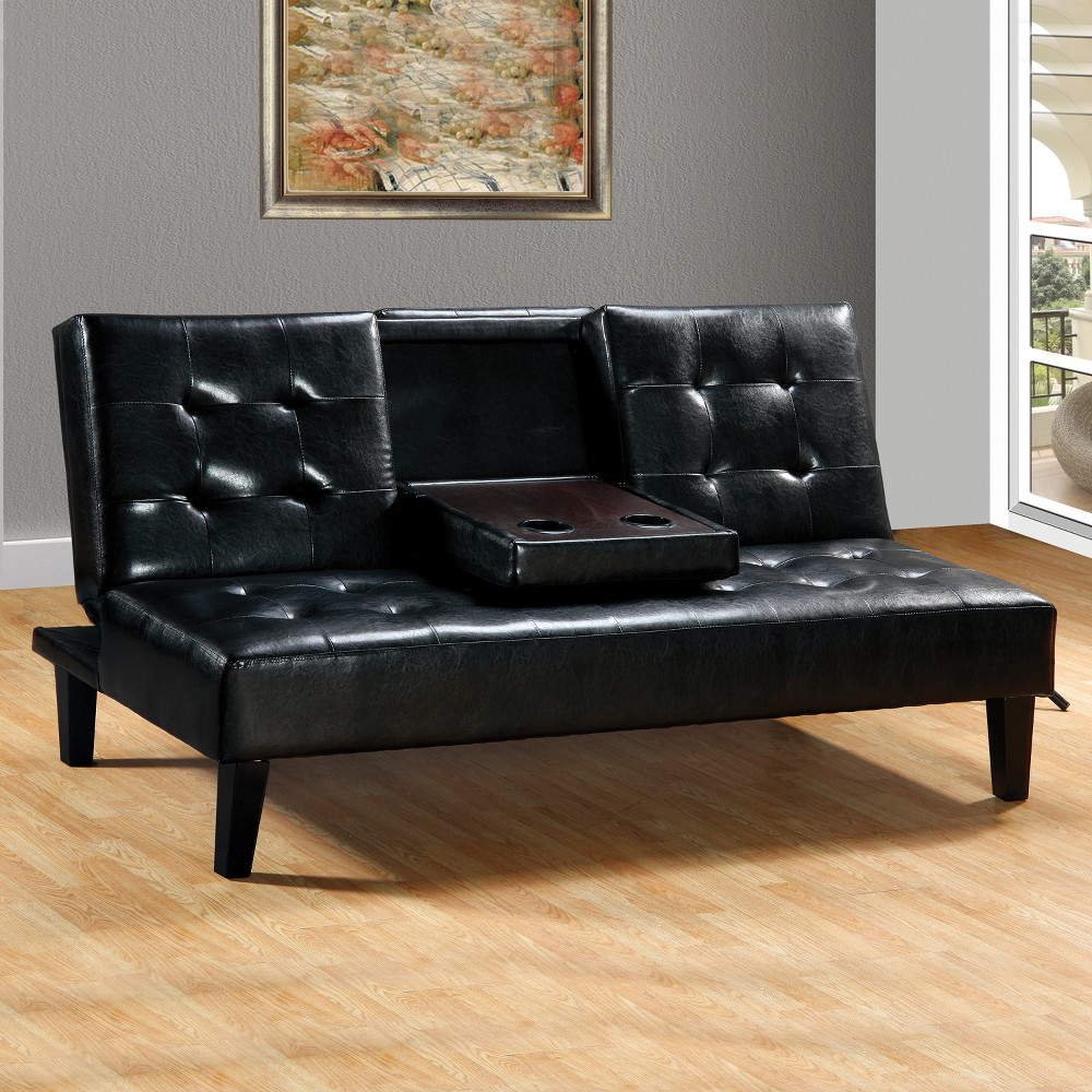 Faux Leather Sofa Bed with Drop Down Tray Black - Home Source
