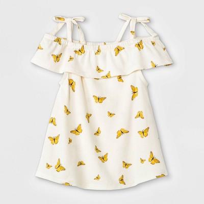 Grayson Mini Baby Girls' 2pc Butterfly Tencel Top & Skirt Set - White 9M