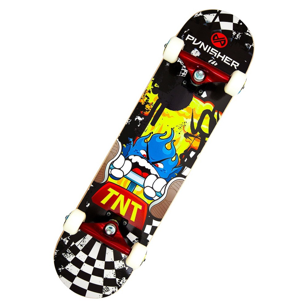 Punisher Skateboards Tnt 31.5 Black Skateboard, Black/Yellow