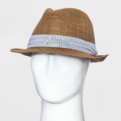 Men's Fedora Straw Hat with Chambray Band - Goodfellow & Co™ Dark Brown L/XL
