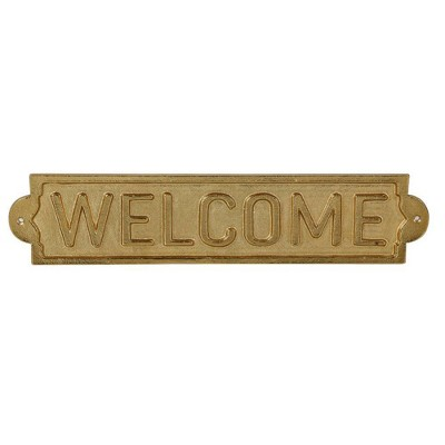 Metal Welcome Sign Wall Sculpture Gold - Threshold™