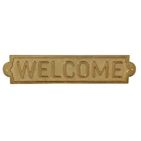 Metal Welcome Sign Wall Sculpture Gold - Threshold™ - image 1 of 1