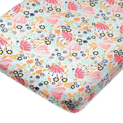 Honest Baby Organic Cotton Fitted Crib Sheet - Flower Power