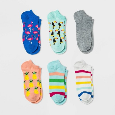 Women's Tropical 6pk Low Cut Socks - Xhilaration™ Blue/Pink/Gray 4-10