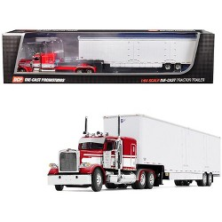 "Peterbilt Model 389 63"" Flattop Sleeper Cab w/Kentucky Moving Van Trailer Red & White 1/64 Diecast by DCP/First Gear"