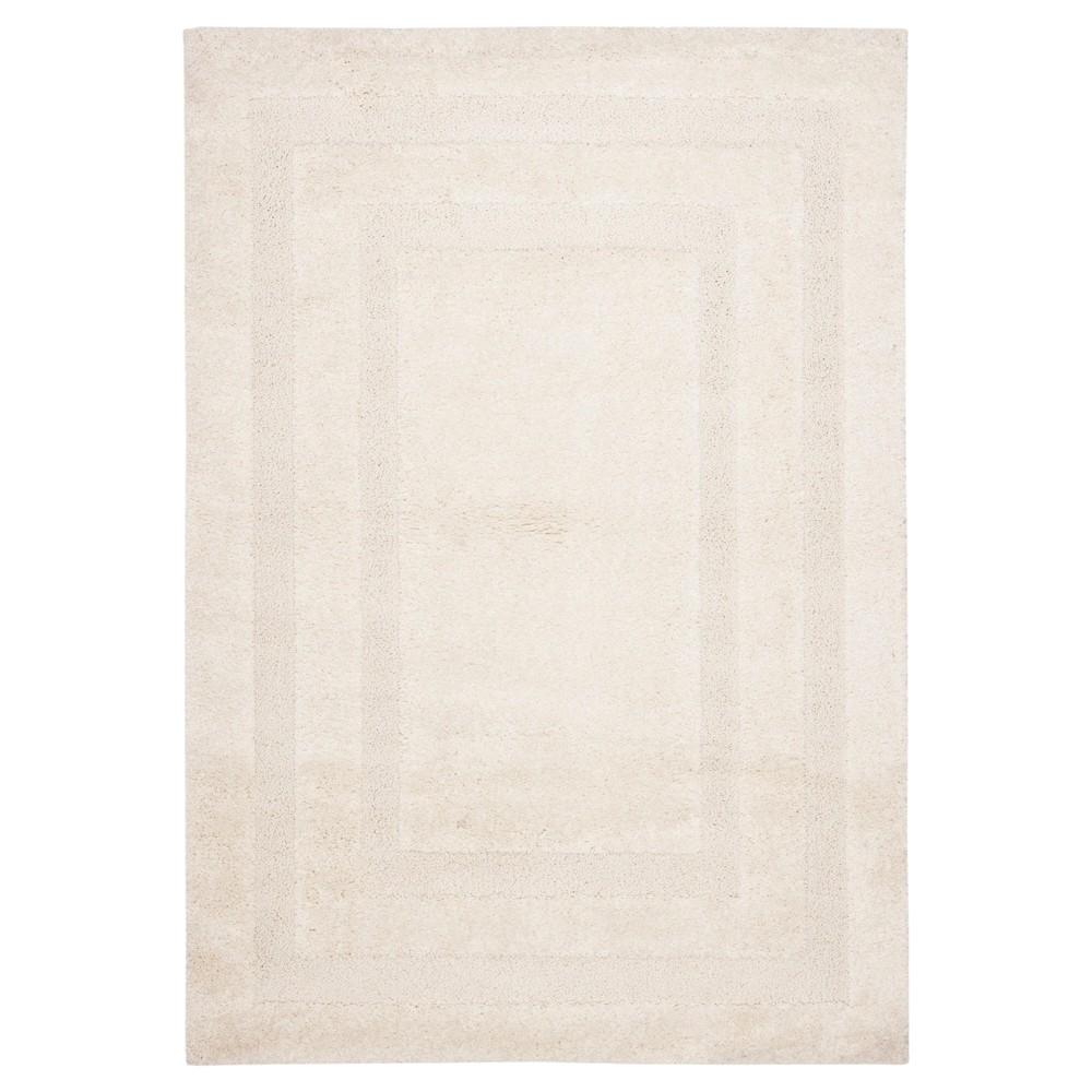 Creme Abstract Shag/Flokati Loomed Area Rug - (5'3