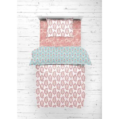 Bacati - Paisley Sophia Coral Aqua 4 pc Toddler Bedding Set