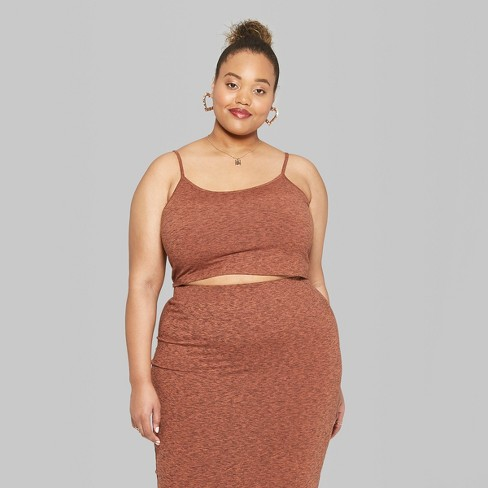 6a65afeb0bc Women s Plus Size Sleeveless Strappy V-Neck Knit Crop Top - Wild Fable™  Orange 4X   Target
