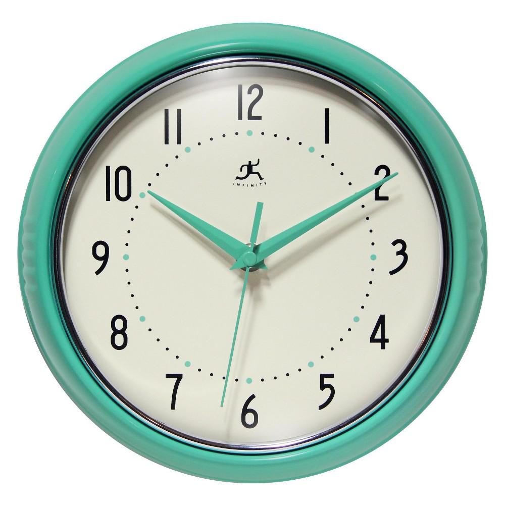 Infinity Instruments Round Wall Clock Aqua (Blue)