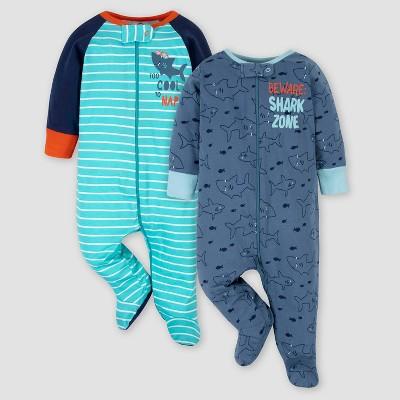 Gerber Baby Boys' 2pk Cool Shark Sleep N' Play - Blue 0-3M