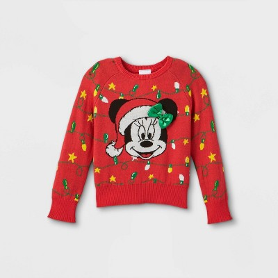 Toddler Girls' Minnie Mouse Ugly Christmas Pullover - Red