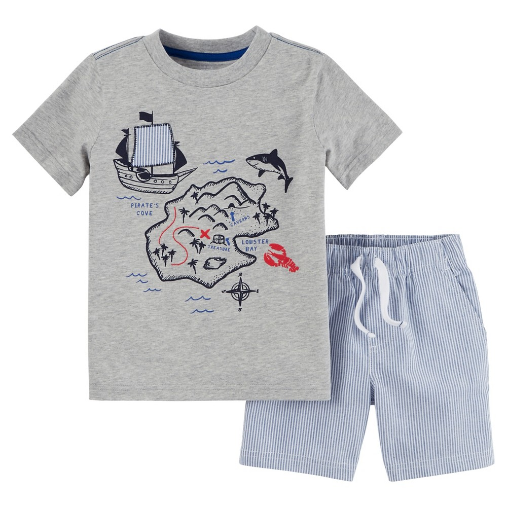 Toddler Boys' 2pc Shorts Set - Just One You Made by Carter's Heather Gray/Blue 5T, Weathered Gray