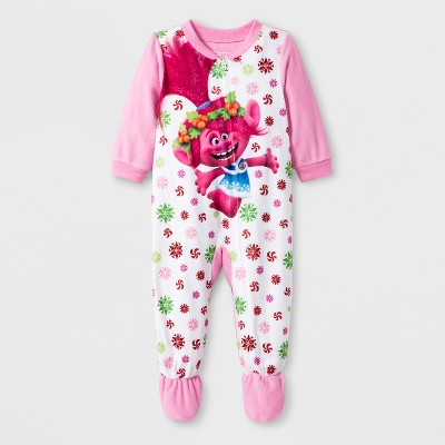 Baby Girls' Trolls Blanket Sleepers - Pink 12M