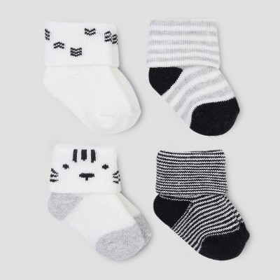 Baby Boys' 4pk Terry Bear Socks - Just One You® made by carter's Black/White 0-3M