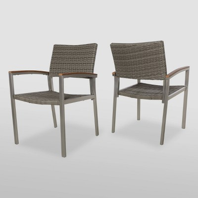 Luton 2pk Wicker and Aluminum Dining Chair - Silver - Christopher Knight Home