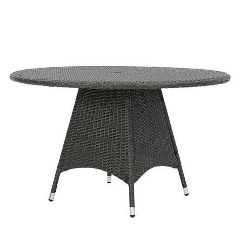 Corsica Round Wicker Dining Table Gray Christopher Knight Home Target