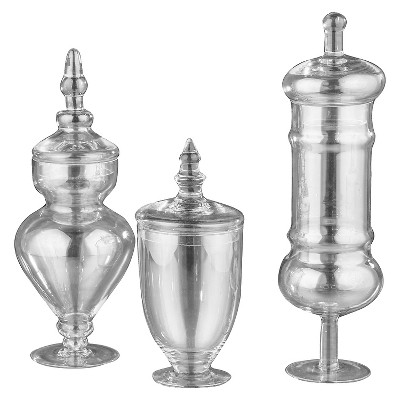 Diamond Star Apothecary Jar with Lid set of 3 Clear (Glass)