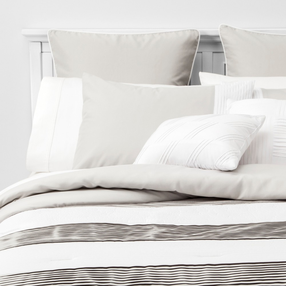 Image of 8pc King Alma Pleated Comforter Set Gray
