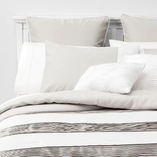 8pc King Alma Pleated Comforter Set Gray