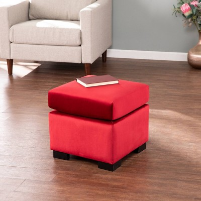 Metmit Square Upholstered Storage Ottoman Red - Aiden Lane