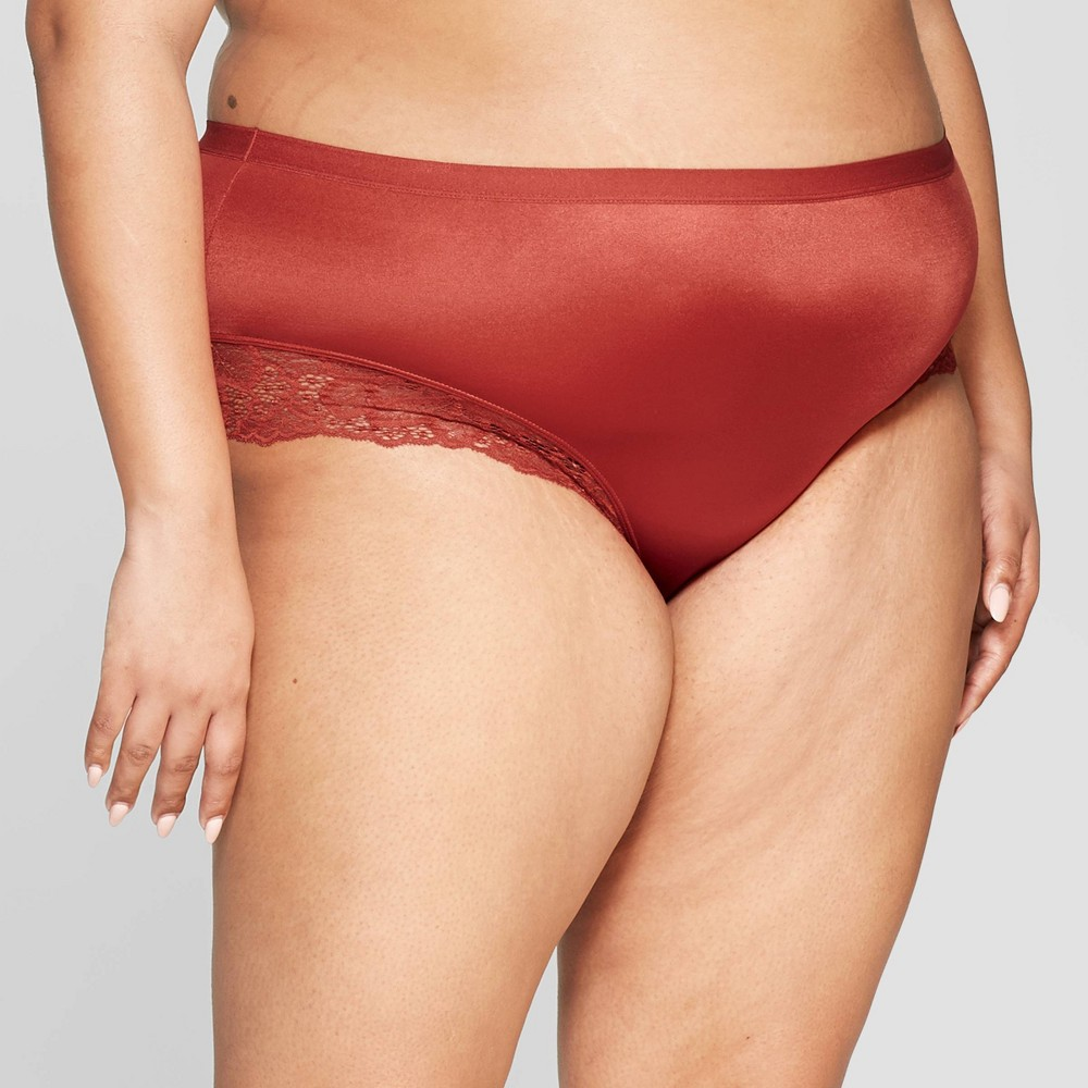 Women's Plus Size Micro Briefs with Lace Trim - Auden Orange Berry 3X