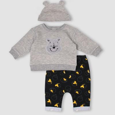 Baby Boys' 3pc Disney Winnie the Pooh Set - Gray 9M