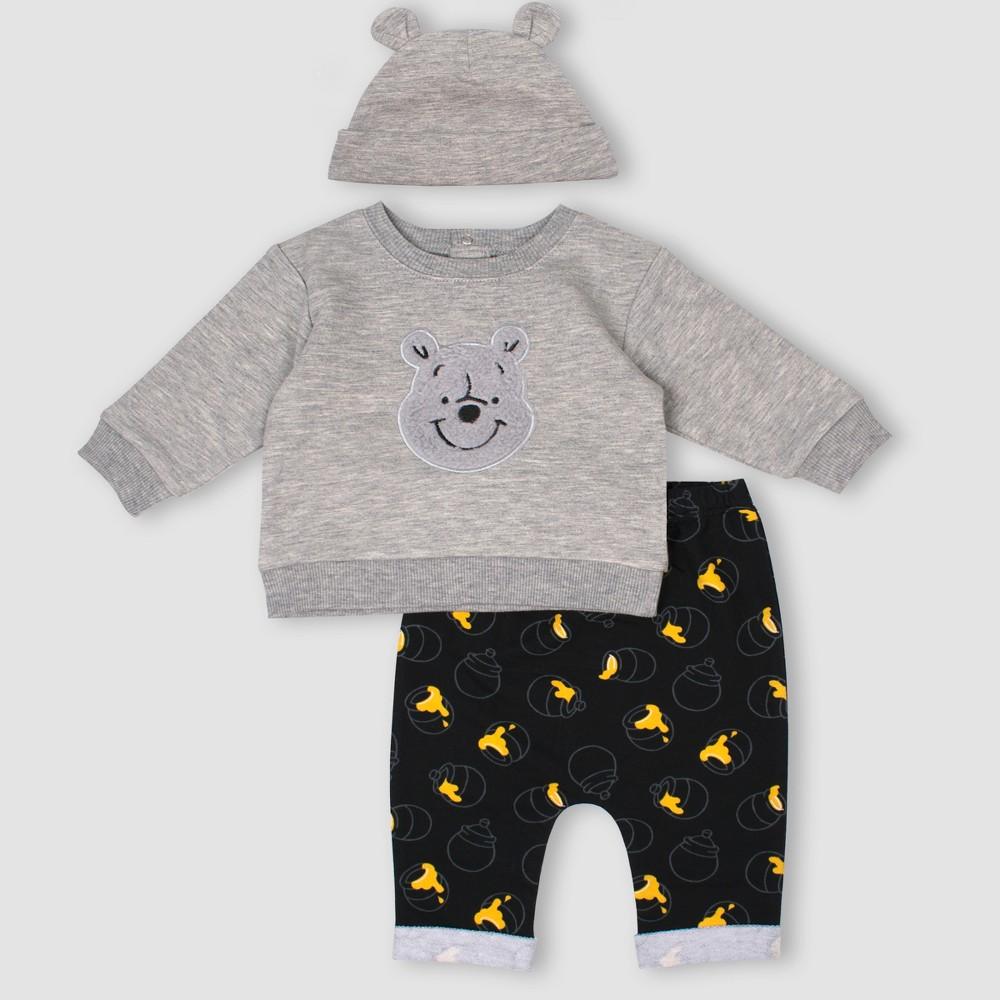 Baby Boys' 3pc Disney Winnie the Pooh Set - Gray 3M
