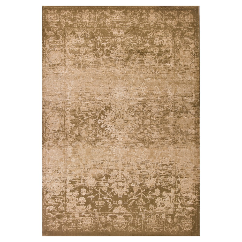 "Image of ""Beige Damask Pressed/Molded Area Rug 5'3""""x7'8"""" - KAS Rugs, Size: 5'3"""" x 7'8"""""""