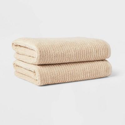2pk Quick Dry Ribbed Bath Towel Set Tan - Threshold™