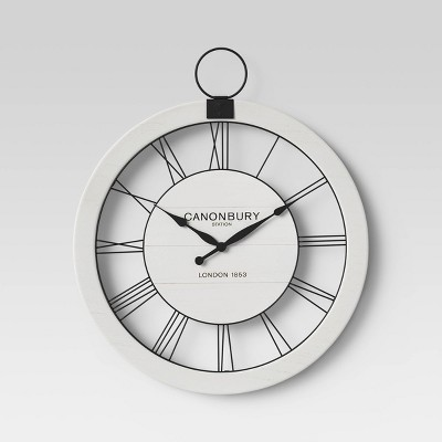"23"" Wood and Metal Wall Clock Off White/Black - Threshold™"
