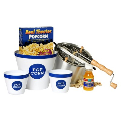 Wabash Valley Farms Real Theater Whirley Pop Stovetop Popcorn Popper Party Pack - Silver
