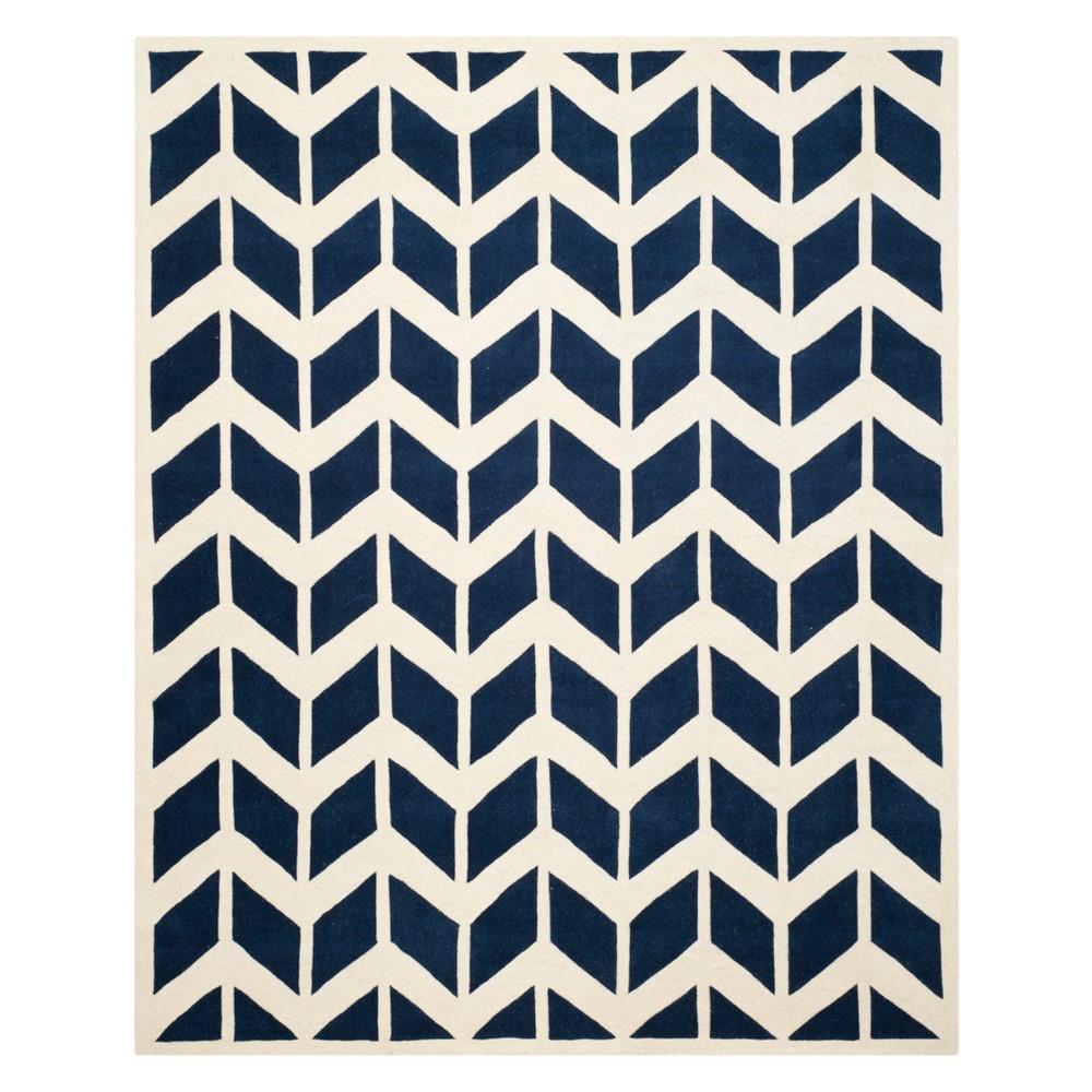 8'X10' Chevron Area Rug Dark Blue/Ivory - Safavieh