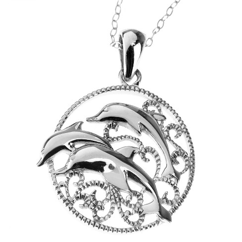 Sterling Silver Dolphin Pendant - White (18) - image 1 of 1