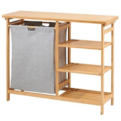 mDesign Bamboo Freestanding Laundry Furniture Storage & Hamper - Natural Finish