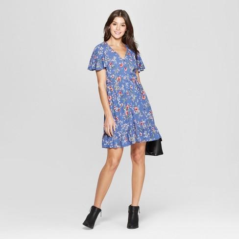 bc02413b4b Women s Floral Print Short Sleeve Flutter Button-Front Dress - Xhilaration™