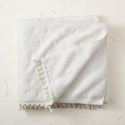 Jacquard Bath Towel with Fringe Cream - Opalhouse™ designed with Jungalow™