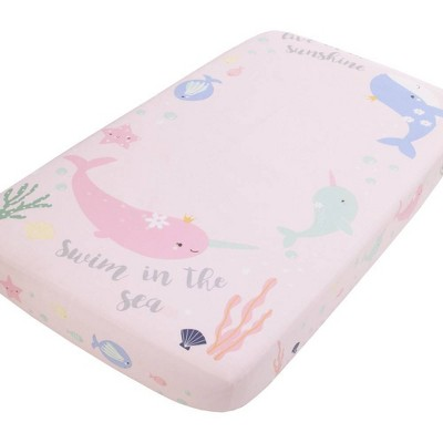 NoJo Under The Sea Whimsy Whales and Narwhals 100% Cotton Photo Op Fitted Crib Sheet -Pink/Blue