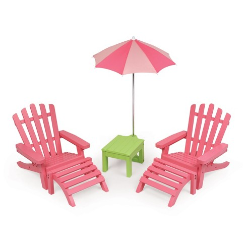 Swell Two Adirondack Doll Chairs With Table And Umbrella Pink Green Andrewgaddart Wooden Chair Designs For Living Room Andrewgaddartcom