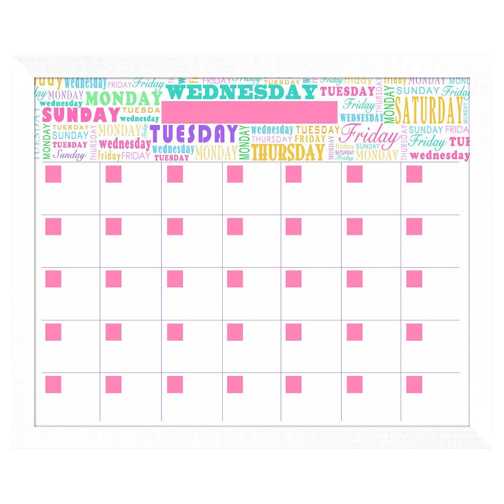 Days Of The Week Decorative Memoboard, White