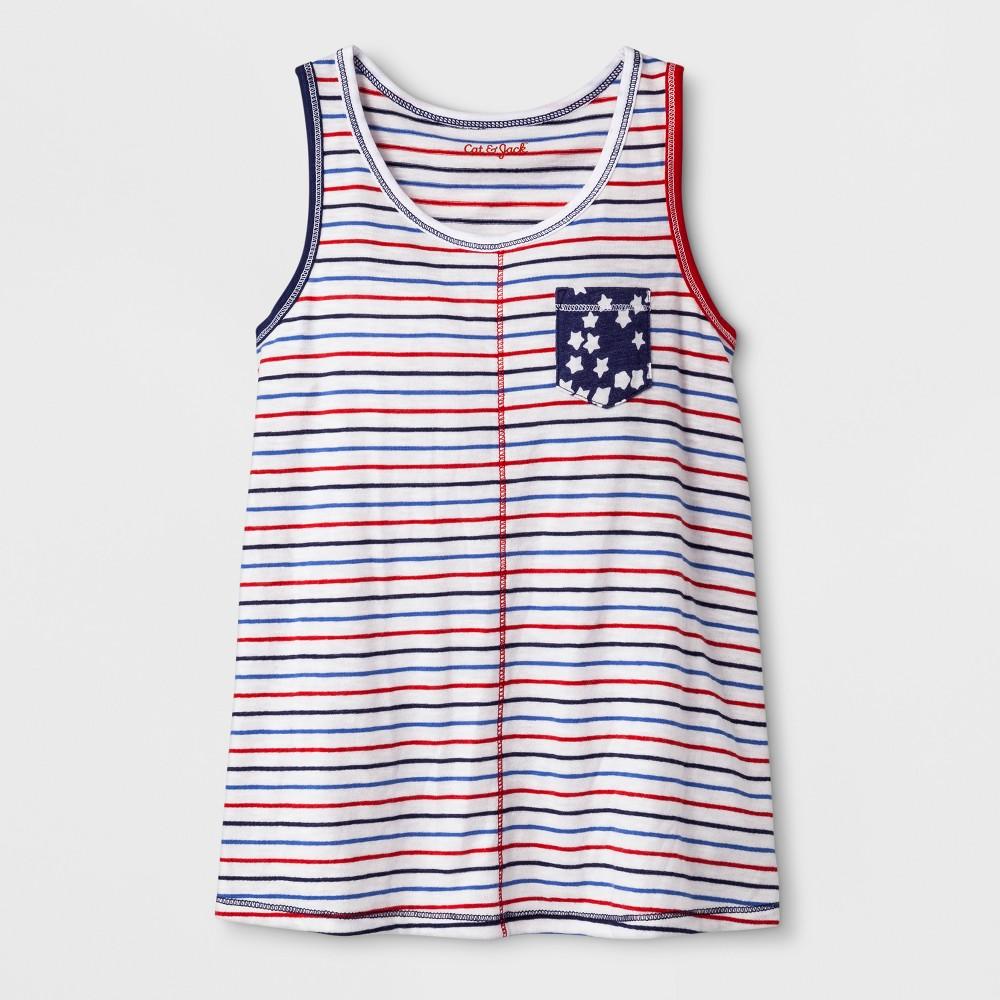 Girls' Sleeveless Americana Stripes Knit Tank Top - Cat & Jack Red/Blue M, White