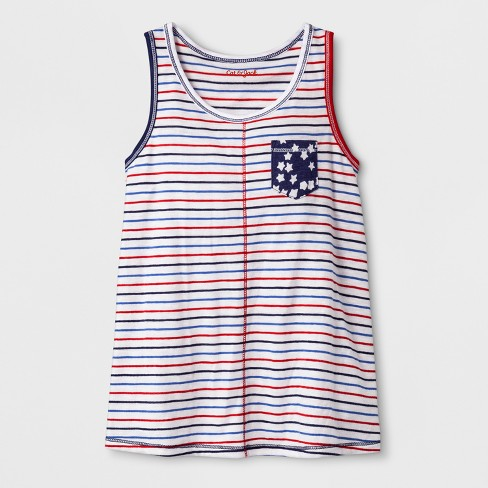 Girls' Sleeveless Americana Stripes Knit Tank Top - Cat & Jack™ Red/Blue - image 1 of 2